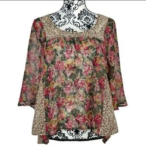 UO Starring at Stars Floral Semi Sheer Blouse